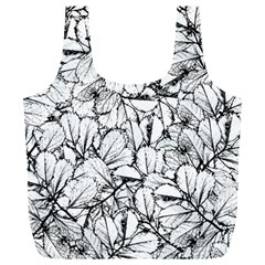 White Leaves Full Print Recycle Bags (l)