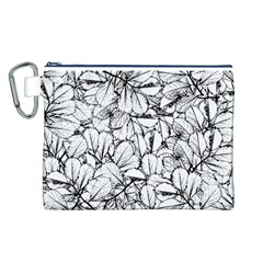 White Leaves Canvas Cosmetic Bag (l)