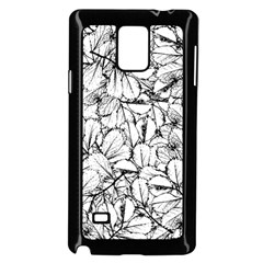 White Leaves Samsung Galaxy Note 4 Case (black)