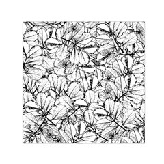 White Leaves Small Satin Scarf (square)