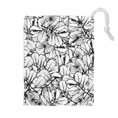 White Leaves Drawstring Pouches (extra Large)