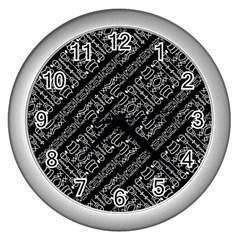 Tribal Stripes Pattern Wall Clocks (silver)