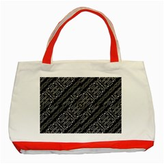 Tribal Stripes Pattern Classic Tote Bag (red)