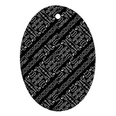 Tribal Stripes Pattern Oval Ornament (two Sides)