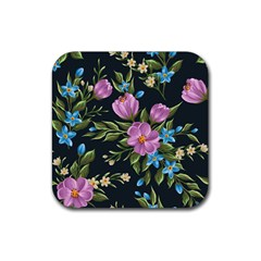 Beautiful Floral Pattern Rubber Square Coaster (4 Pack)