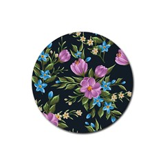 Beautiful Floral Pattern Rubber Round Coaster (4 Pack)