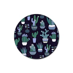 Cactus Pattern Rubber Coaster (round)
