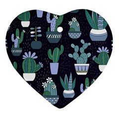 Cactus Pattern Heart Ornament (two Sides)