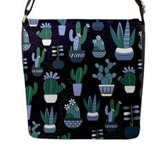 Cactus Pattern Flap Messenger Bag (l)