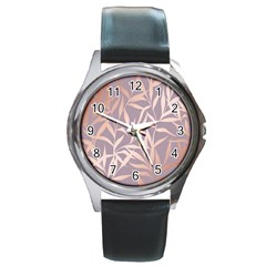 Rose Gold, Asian,leaf,pattern,bamboo Trees, Beauty, Pink,metallic,feminine,elegant,chic,modern,wedding Round Metal Watch