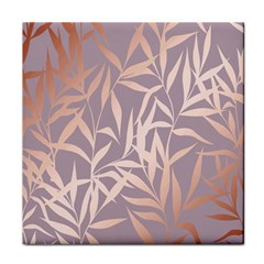 Rose Gold, Asian,leaf,pattern,bamboo Trees, Beauty, Pink,metallic,feminine,elegant,chic,modern,wedding Tile Coasters