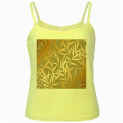 Rose Gold, Asian,leaf,pattern,bamboo Trees, Beauty, Pink,metallic,feminine,elegant,chic,modern,wedding Yellow Spaghetti Tank