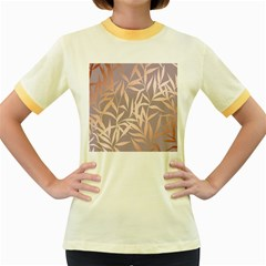 Rose Gold, Asian,leaf,pattern,bamboo Trees, Beauty, Pink,metallic,feminine,elegant,chic,modern,wedding Women s Fitted Ringer T Shirts