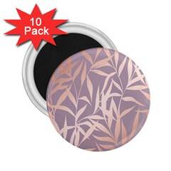 Rose Gold, Asian,leaf,pattern,bamboo Trees, Beauty, Pink,metallic,feminine,elegant,chic,modern,wedding 2 25  Magnets (10 Pack)