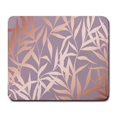 Rose Gold, Asian,leaf,pattern,bamboo Trees, Beauty, Pink,metallic,feminine,elegant,chic,modern,wedding Large Mousepads