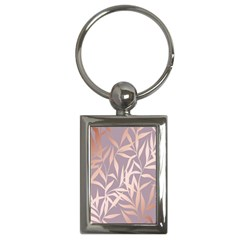 Rose Gold, Asian,leaf,pattern,bamboo Trees, Beauty, Pink,metallic,feminine,elegant,chic,modern,wedding Key Chains (rectangle)