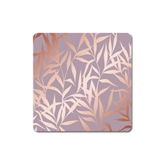 Rose Gold, Asian,leaf,pattern,bamboo Trees, Beauty, Pink,metallic,feminine,elegant,chic,modern,wedding Square Magnet