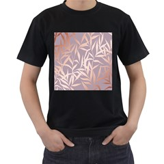Rose Gold, Asian,leaf,pattern,bamboo Trees, Beauty, Pink,metallic,feminine,elegant,chic,modern,wedding Men s T Shirt (black) (two Sided)