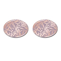 Rose Gold, Asian,leaf,pattern,bamboo Trees, Beauty, Pink,metallic,feminine,elegant,chic,modern,wedding Cufflinks (oval)