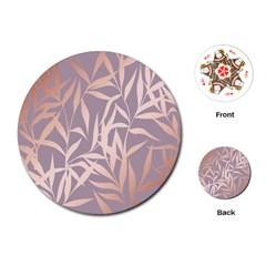 Rose Gold, Asian,leaf,pattern,bamboo Trees, Beauty, Pink,metallic,feminine,elegant,chic,modern,wedding Playing Cards (round)