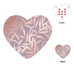 Rose Gold, Asian,leaf,pattern,bamboo Trees, Beauty, Pink,metallic,feminine,elegant,chic,modern,wedding Playing Cards (heart)