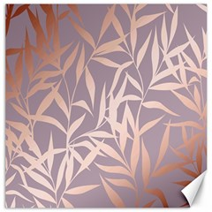 Rose Gold, Asian,leaf,pattern,bamboo Trees, Beauty, Pink,metallic,feminine,elegant,chic,modern,wedding Canvas 16  X 16