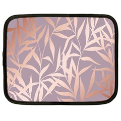 Rose Gold, Asian,leaf,pattern,bamboo Trees, Beauty, Pink,metallic,feminine,elegant,chic,modern,wedding Netbook Case (large)