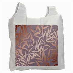 Rose Gold, Asian,leaf,pattern,bamboo Trees, Beauty, Pink,metallic,feminine,elegant,chic,modern,wedding Recycle Bag (two Side)
