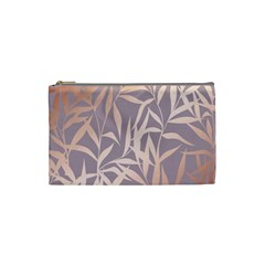 Rose Gold, Asian,leaf,pattern,bamboo Trees, Beauty, Pink,metallic,feminine,elegant,chic,modern,wedding Cosmetic Bag (small)