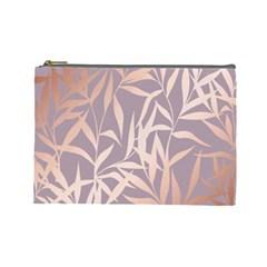 Rose Gold, Asian,leaf,pattern,bamboo Trees, Beauty, Pink,metallic,feminine,elegant,chic,modern,wedding Cosmetic Bag (large)