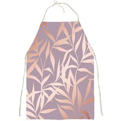 Rose Gold, Asian,leaf,pattern,bamboo Trees, Beauty, Pink,metallic,feminine,elegant,chic,modern,wedding Full Print Aprons