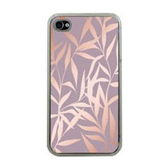 Rose Gold, Asian,leaf,pattern,bamboo Trees, Beauty, Pink,metallic,feminine,elegant,chic,modern,wedding Apple Iphone 4 Case (clear)