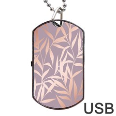 Rose Gold, Asian,leaf,pattern,bamboo Trees, Beauty, Pink,metallic,feminine,elegant,chic,modern,wedding Dog Tag Usb Flash (two Sides)