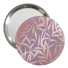 Rose Gold, Asian,leaf,pattern,bamboo Trees, Beauty, Pink,metallic,feminine,elegant,chic,modern,wedding 3  Handbag Mirrors