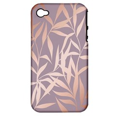 Rose Gold, Asian,leaf,pattern,bamboo Trees, Beauty, Pink,metallic,feminine,elegant,chic,modern,wedding Apple Iphone 4/4s Hardshell Case (pc+silicone)