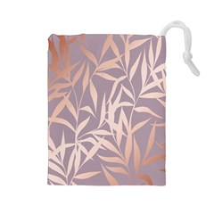 Rose Gold, Asian,leaf,pattern,bamboo Trees, Beauty, Pink,metallic,feminine,elegant,chic,modern,wedding Drawstring Pouches (large)