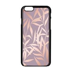 Rose Gold, Asian,leaf,pattern,bamboo Trees, Beauty, Pink,metallic,feminine,elegant,chic,modern,wedding Apple Iphone 6/6s Black Enamel Case