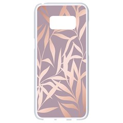 Rose Gold, Asian,leaf,pattern,bamboo Trees, Beauty, Pink,metallic,feminine,elegant,chic,modern,wedding Samsung Galaxy S8 White Seamless Case