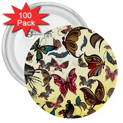 Colorful Butterflies 3  Buttons (100 Pack)