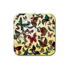 Colorful Butterflies Rubber Coaster (square)