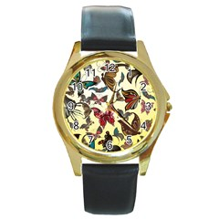 Colorful Butterflies Round Gold Metal Watch