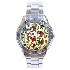Colorful Butterflies Stainless Steel Analogue Watch