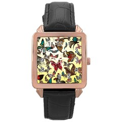 Colorful Butterflies Rose Gold Leather Watch