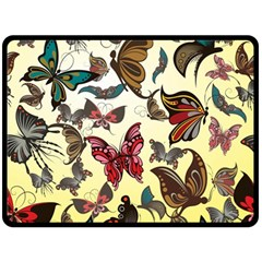 Colorful Butterflies Double Sided Fleece Blanket (large)