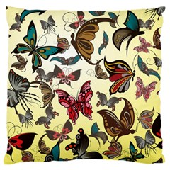 Colorful Butterflies Large Flano Cushion Case (one Side)
