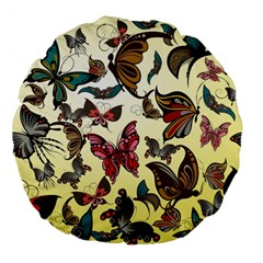 Colorful Butterflies Large 18  Premium Flano Round Cushions