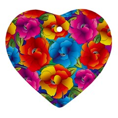 Neon Colored Floral Pattern Ornament (heart)