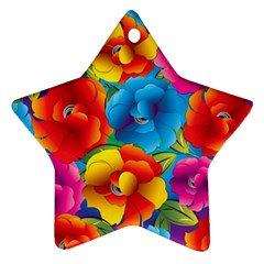 Neon Colored Floral Pattern Ornament (star)