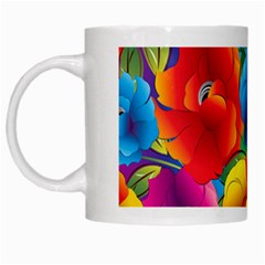 Neon Colored Floral Pattern White Mugs