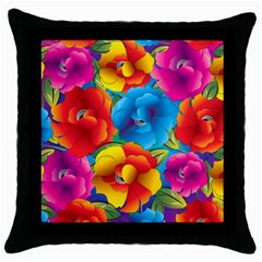 Neon Colored Floral Pattern Throw Pillow Case (black)